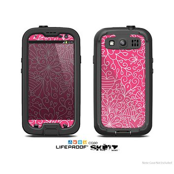 The Pink & White Abstract Illustration V3 Skin For The Samsung Galaxy S3 LifeProof Case