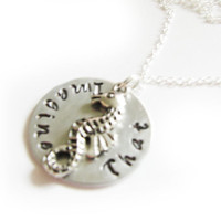 Seahorse Hand Stamped Necklace, Personalized Jewelry