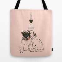 The Love of Pug Tote Bag by Huebucket