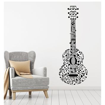 Vinyl Wall Decal Guitar Musical Instrument Notes Clef Music Art Stickers Mural (g1133)