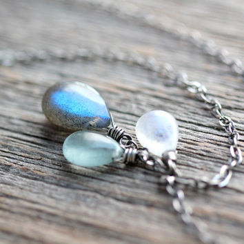 Aquamarine, Labradorite and Moonstone Necklace on Sterling Silver - Poseidon - March Birthstone Jewelry Mythology Collection