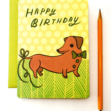 Dachshund Birthday Card (Belated Birthday Card)