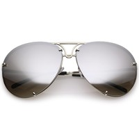 Retro Oversized Floating Mirrored Lens Aviator Sunglasses C081