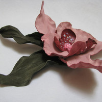 Handmade leather flower pin brooch Pink orchid by ProninA on Etsy