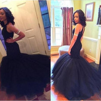 2016 Scoop Neck Navy Long Prom Dresses Mermaid Sleeveless Tulle Prom Pageant Dresses Formal Gown