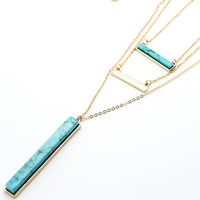 Bar layer long necklace