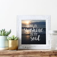 Square prints, inspirational quotes, beach wall art quotes, beach photography, ocean photography, beach wall decor, sunshine in my soul