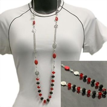 Beaded Drop Necklace | Ohio State