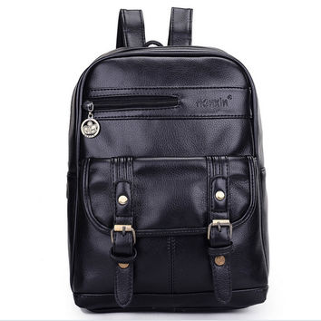 2016 New fashion Women Backpacks Preppy Style PU Leather Retro Vintage British Leather Back Pack Lady's Mochila Brown Black 6047