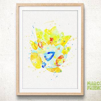 Togepi, Pokemon - Watercolor, Art Print, Home Wall decor, Watercolor Print, Nersery Room, Pocket Monsters Poster