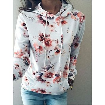 New 2017 Harajuku Kawaii Printed Hoodies Long Sleeve Winter Knitted Hooded Sweatshirt Women Cute Floral Print Pullover