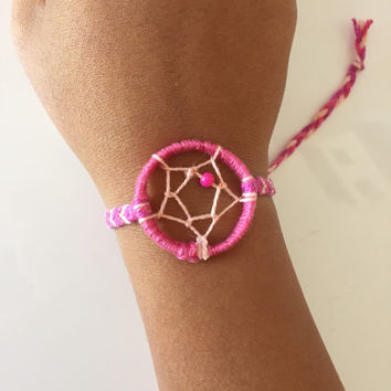 Pink Dream Catcher Friendship Bracelet