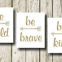 Be Bold Be Kind Be Brave Set of 3 Golden Quotes Typography Print Poster Digital Art Black White Wall Art Home Decor G039-040-041