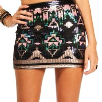 SALE-NavyGoldGreen Sequin Mini Skirt