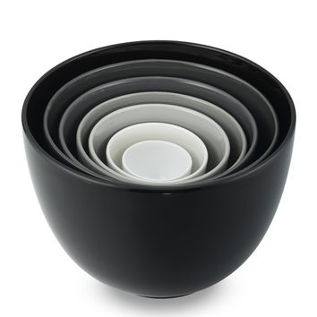 Ceramic Mixing Bowls, Set of 7, Black to White Tonal