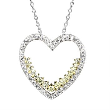 Heart Frame Yellow Solitaire Silver Love Pendant Valentine's