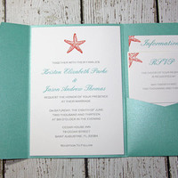 Pocketfold Wedding Invitations - Beach Wedding Invitation- Lagoon Shimmer Invitation - set of 100
