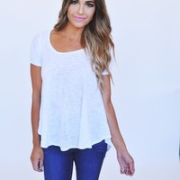 Fine Knit High-Low Top- White