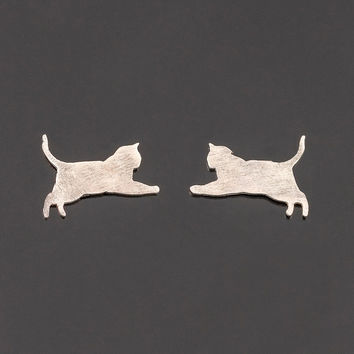 Silver cat post earrings. Cat silhouette earrings. Jumping cat earrings. Cat studs. Kitten studs. Boho jewelry. Cat posts. Cat totem.
