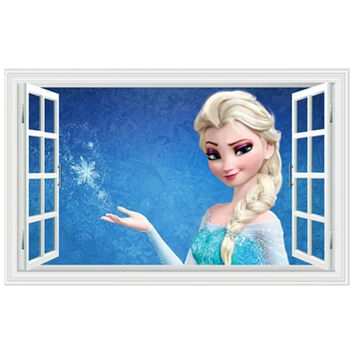 Princess Anna Elsa anime wall decals blue Snowflake 3d fake window vinyl stickers kids room decoration girl art poster wallpaper