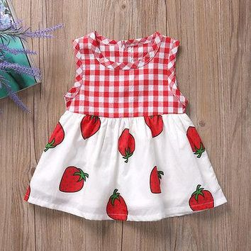 Fashion Red Plaid Baby Girl Floral Dress Kid Party Wedding Pageant Formal Dresses Sundress Clothes