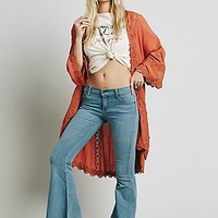 Free People Womens Lace Inset Long Kimono