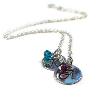 Monogram Initial Couples or Mothers Necklace