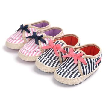 New Sweet Infant Toddler Newborn Baby Girl Princess Mary Jane Striped Ballet Dress First Walkers Shoes Crib Babe Soft Soled 0-1T