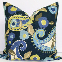 Pillow.Blue.Paisley.18 inch.Pillow Cover.Printed Fabric Front and Back.Housewares.Home Decor.Periwinkle.Blue.