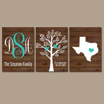 State Family Tree Monogram Wood Effect Wall Art Initials Wedding Shower Gift Last Name Date Tree Birds Custom Personalized Set of 3 Prints
