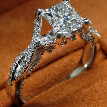 2016 New Luxury Jewelry  Princess Cut 925 Sterling silver Simulated stones Wedding Engagement Party Band Women Ring Size 5-11
