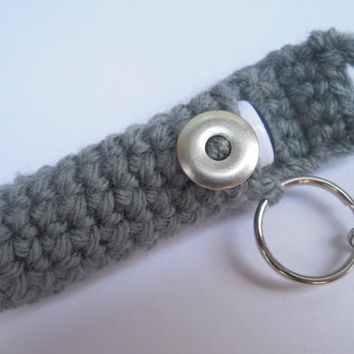 Steel Gray Lip Balm Holder with Industrial Washer Style Button, Crocheted Lip Balm Cozy, chapstick case keyring, lipbalm holder for lanyard