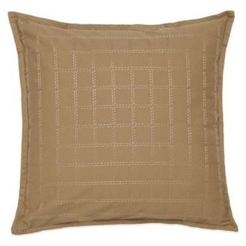 Southern Tide Woodlands Check Embroidery Square Throw Pillow in Khaki