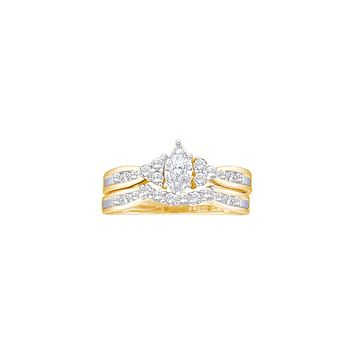 14kt Yellow Gold Womens Marquise Diamond Bridal Wedding Engagement Ring Band Set 1/2 Cttw