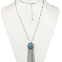 Silver Boho Style Chain Tassel Bead Pendant Necklace