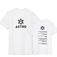 Summer style astro all member name printing t-shirt kpop jinjin rocky short sleeve t shirt  lovers top tee 3 colors