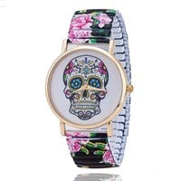 Skull Flower Day Of The Dead Inspired Fashion Quartz Wrist Watch - Stainless Steel
