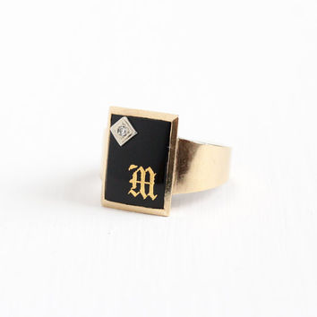 Vintage 10k Rosy Yellow Gold Initial Letter M Signet Onyx & Diamond Ring - Mid Century Size 10 1/4 Black Onyx Men's Monogram Fine Jewelry