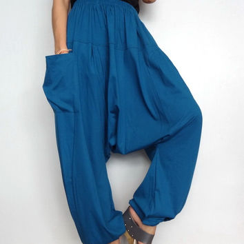 Petrol Blue Drop crotch long trouser,Unisex harem Baggy pants unique cotton blend (Drop pants-16).