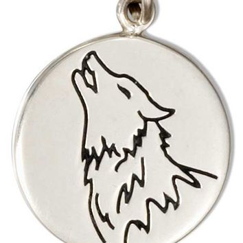 Sterling Silver Round Disk With Howling Wolf Charm