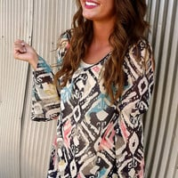 Multi Colored Bell Sleeve Blouse | The Rage