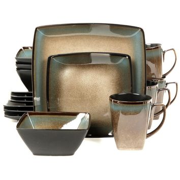 Gibson Elite Tequesta 16-Piece Square Dinnerware Set, Taupe
