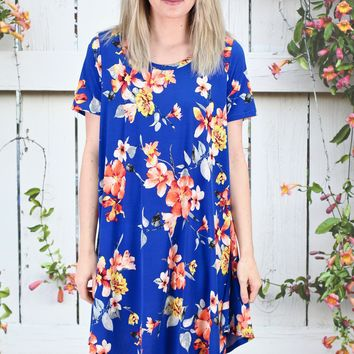 Walk in the Park Floral Print Dress {Royal Blue}