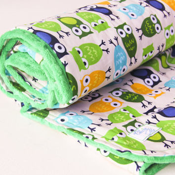 Baby Blanket Owls with Kelly Green Minky and Robert Kaufmann Cotton Owl Fabric - Made to Order