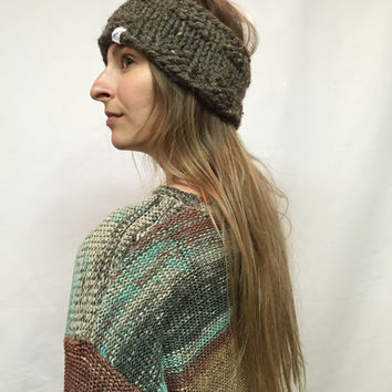 Knit Headband Brown Tweed Cozy And Warm