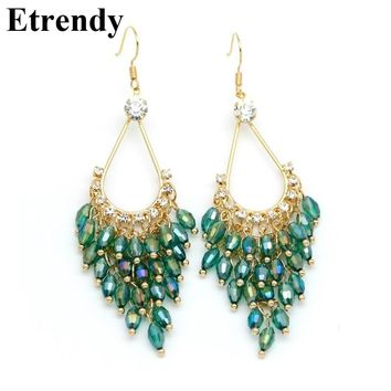 New Statement Crystal Beads Long Earrings For Women Bijoux Elegant Ethnic Jewelry Green Black Pink White all match