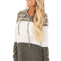 Olive, White and Grey Color Block Hoodie