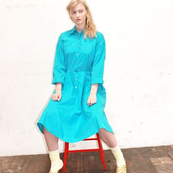 80s BLUE Shirt Dress full skirt midi dress shirtwaist dress MEDIUM MED m