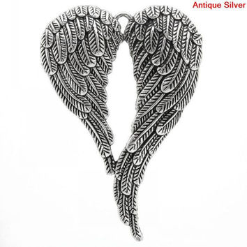 Charm Pendants Angel Wing Antique Silver 6.9x4.7cm,5PCs Mr.Jewelry