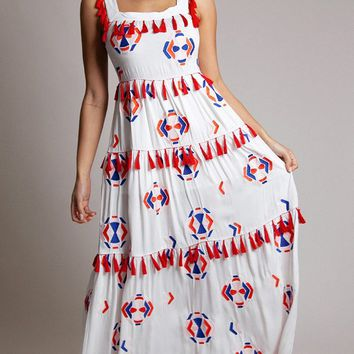 Pull If Off White Red Geometric Pattern Tassel Sleeveless Square Neck A Line Casual Maxi Dress